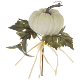 White Pumpkin With Leaves Pick