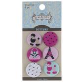 Pink Paris Fabric Shank Buttons - 19mm