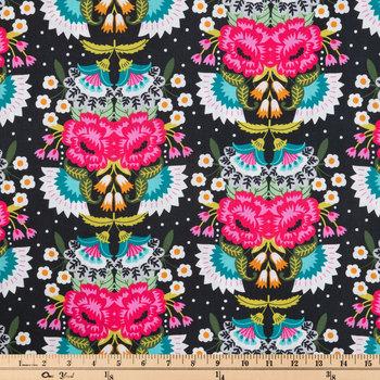 Folk Floral On Black Apparel Fabric