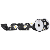 Black Daisy Burlap Wired Edge Ribbon - 2 1/2""