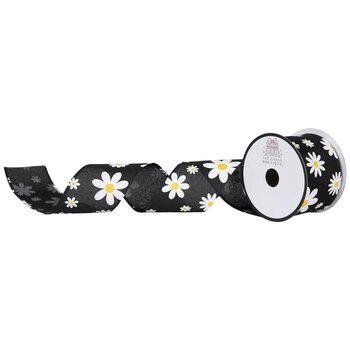"Black Daisy Burlap Wired Edge Ribbon - 2 1/2"""
