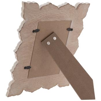 "White & Brown Scroll Wood Frame - 4"" x 6"""