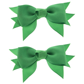 Emerald Baby Grosgrain Bow Clips