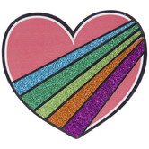 Rainbow Striped Heart Painted Wood Shape