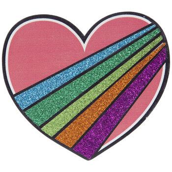 Rainbow Striped Heart Painted Wood Shape