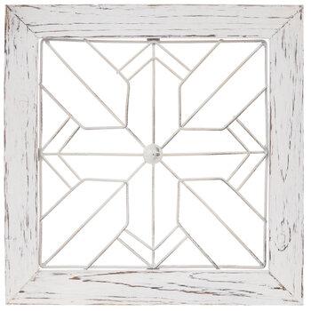 White Square Wire Wood Wall Decor