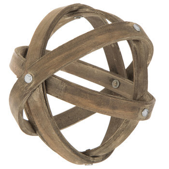 Antique Wood Band Decorative Sphere