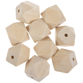 Geometric Wood Beads - 25mm