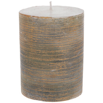 """Brushed Copper & Gray Pillar Candle - 3"""" x 4"""""""
