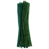 Green Chenille & Tinsel Stems