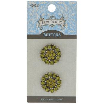 Olivine Rhinestone Flower Shank Buttons - 20mm