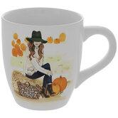 Girl At Pumpkin Patch Mug