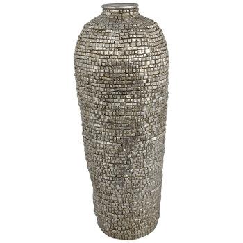 Champagne Silver Textured Floor Vase