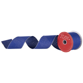 Blue & Silver Wired Edge Ribbon - 2 1/2""