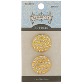 Gold Rhinestone Shank Buttons - 22mm