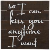 Kiss You Anytime Wood Wall Decor