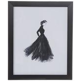 Girl In Black Dress Framed Wall Decor