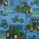 John Deere Tractors Cotton Calico Fabric