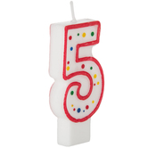 Red & White Number Birthday Candle with Dots