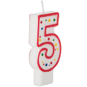 Red & White Number Birthday Candle with Dots - 5