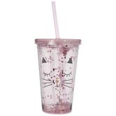 Pink Cat Glitter Cup