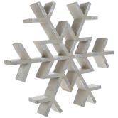 Beige & Iridescent Glitter Wood Snowflake