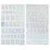 Silver Holographic Sparkle Dot Handwritten Alphabet Stickers