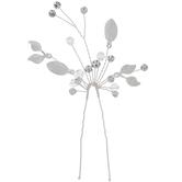 Silver Leaves & Rhinestone Hair Pins