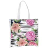 Floral & Striped Tote Bag