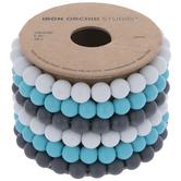 Blue, White & Gray Glass Bead Bracelets