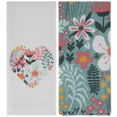 Turquoise & Pink Floral Kitchen Towels