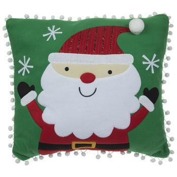 Santa & Pom Poms Pillow