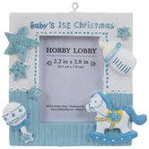 Blue Baby's 1st Christmas Frame Ornament