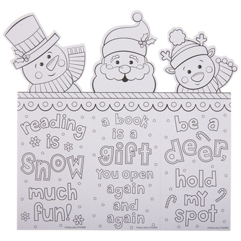 Santa & Snowman Coloring Bookmarks