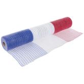 "Red, White & Blue Striped Deco Mesh - 21"""