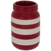 Red & White Striped Jar