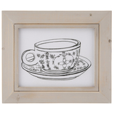 Mug & Saucer Sketch Wood Wall Decor