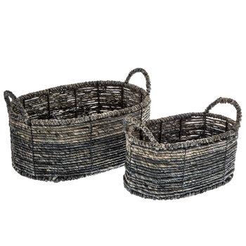Gray Maize Oval Basket Set