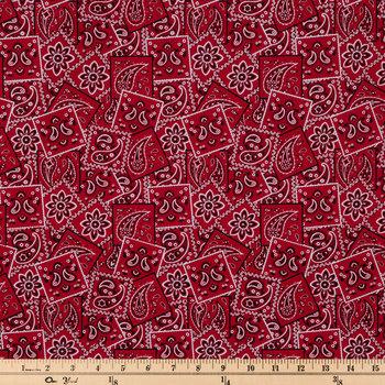 Red Classic Bandana Cotton Calico Fabric