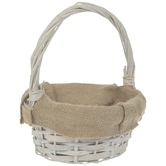 Antique White Wood & Burlap Basket