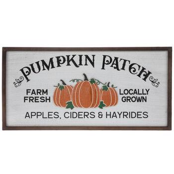 White Pumpkin Patch Wood Wall Decor