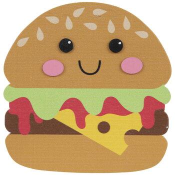 Smiling Hamburger Painted Wood Shape