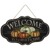 Welcome To Our Home Pumpkin Wood Wall Decor