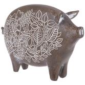 Distressed Floral Pig