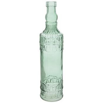 Green Embossed Bottle Glass Vase