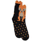Black & Orange Fox Crew Socks
