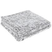 Gray & White Floral Throw Blanket