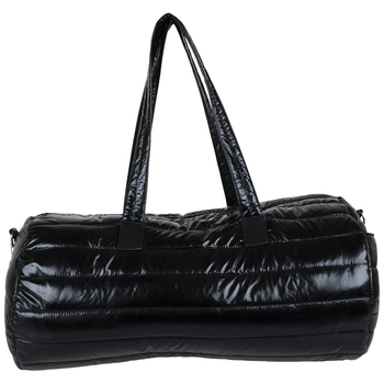 Black Metallic Puff Duffel Bag