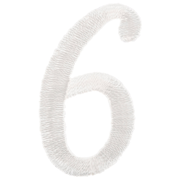 White Number Iron-On Applique 6 - Large