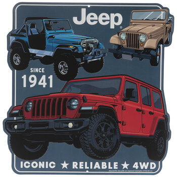 Red, Blue & Tan Jeeps Metal Sign